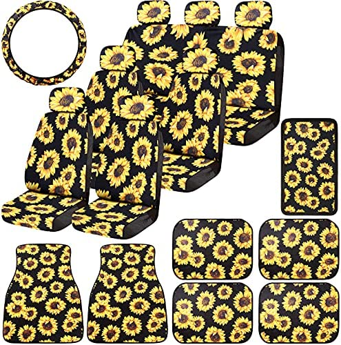 21 Pieces Sunflower Car Accessories Set Include 13 Pieces Sunflower Seat Covers, 6 Pieces Sunflowers Floor Car Mats, Sunflower Steering Wheel Cover, Sunflower Center Console Armrest Pad for Car Truck
