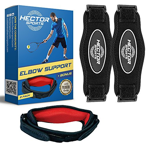 Tennis Elbow Brace for Tendonitis & Tendon Pain Relief - Best Adjustable Compression Support Band - Top Braces for Lateral Epicondylitis Or Golfer Injuries - One Size Fits All by Hector Sports