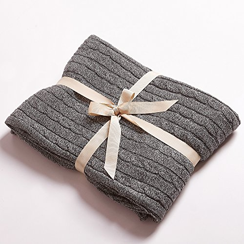 """Easy Knit Blanket (NTBAY 100% Cotton Cable Knit Throw Blanket Super Soft Warm Multi Color(51""""x 67"""", Grey and White))"""