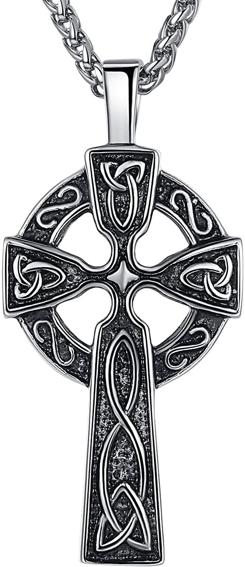 """Aoiy Men's Stainless Steel Large Celtic Cross Irish Knot Pendant Necklace, 24"""" Link Chain, aap011"""