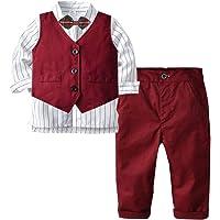Bufffun Boys Formal Outfit Suit, Toddler Boys 3Pcs Clothing Set Long Sleeve Bowtie Shirt+Vest+Pants Casual Suit Wine Red…