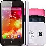 """Smartphone Qbex X-Pocket 4"""" 4GB 3G Câmera Frontal Android 4.4 Preto + Capa Branca e Rosa"""