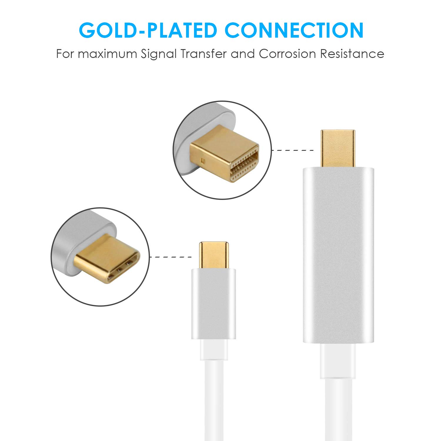 USB C to Mini Displayport Cable Type C to Mini DP 4K 60Hz Resolution Converter 6FT//1.8m with Aluminium Case not Compatible with Thunderbolt 2 for MacBook Pro 2016 ChromeBook Pixel Galaxy S8