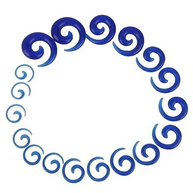 9 Pares Dilatador Expansor Forma Espiral Túnel Acrílico para Oreja Oído (azul)