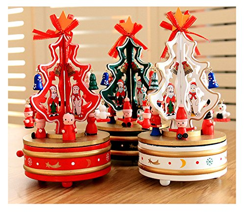 Christmas Decorations Christmas Tree Wooden Rotating Music Box Desktop Decoration Christmas Gifts (white) by HorBous (Image #4)