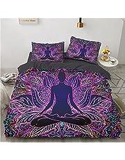 CHANGXIAO Bohemiskt påslakan, polyester mjukt och andningsbart bekvämt bäddset med dragkedja i 3 delar, lämpligt för alla årstider på barnens sovrum påslakan