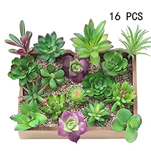 16 Pcs Mixed Artificial Succulent Flowers Plants Unpotted Decor Stems Fake Succulents Plants Bulk Assorted Picks for Home Decor Indoor Wall Garden DIY Decorations 53