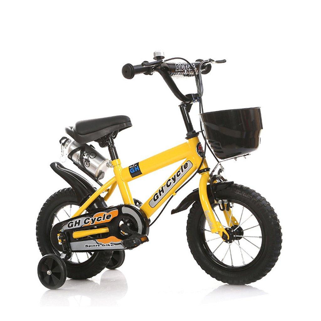 子供の自転車6-9歳の子供の自転車高炭素スチールの赤ちゃんキャリッジ18インチの男性と女性の自転車、白/青/黄 (Color : Yellow) B07CWNQT18