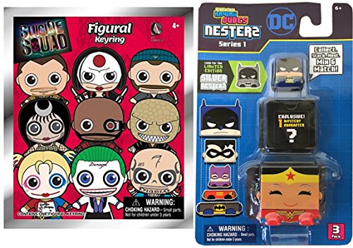 DC Comics - Kawaii Cubes Stackable Nesterz Pack + Suicide Squad 3D Foam Key Ring Blind Bag characters collectible toy bundle set