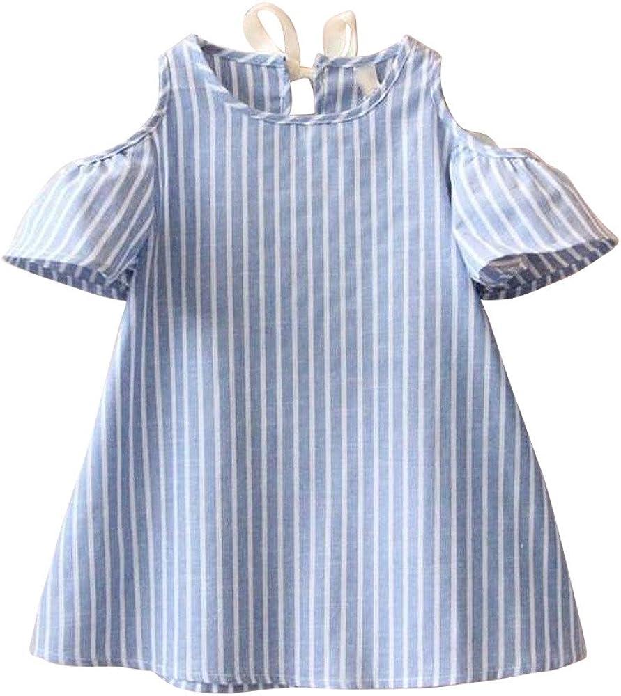 FAMILIZO Vestido de niñas, Niños Niñas Verano Princesa Vestido Linda Ropa Mezcla De Algodón Hombro De Rayas (5-6T, Azul): Amazon.es: Ropa y accesorios
