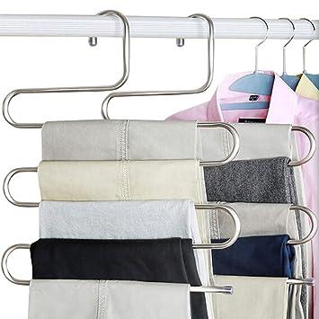 huntf Oro 5 Unidades Perchas Percha para Pantalones S Forma de Closet Organizar almacenar Acero Inoxidable Economizador de Espacio para Corbata - Pantalones ...