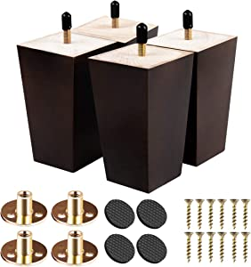 3 inch Solid Wood Furniture Legs, Btowin 4Pcs Mid-Century Modern Wooden Pyramid Replacement Feet with Threaded 5/16'' Hanger Bolts & Mounting Plate & Screws for Sofa Couch Chair Recliner