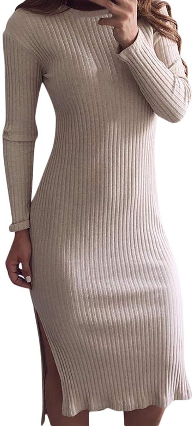 Goosuny Damen Strickkleid Knielange Kleider Pullover