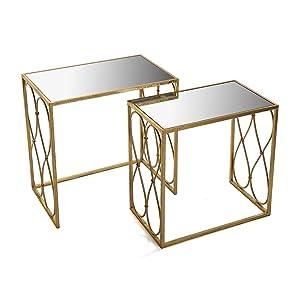 VERSA–Set di 2tavolini tavolino Vetro e Oro Aurea