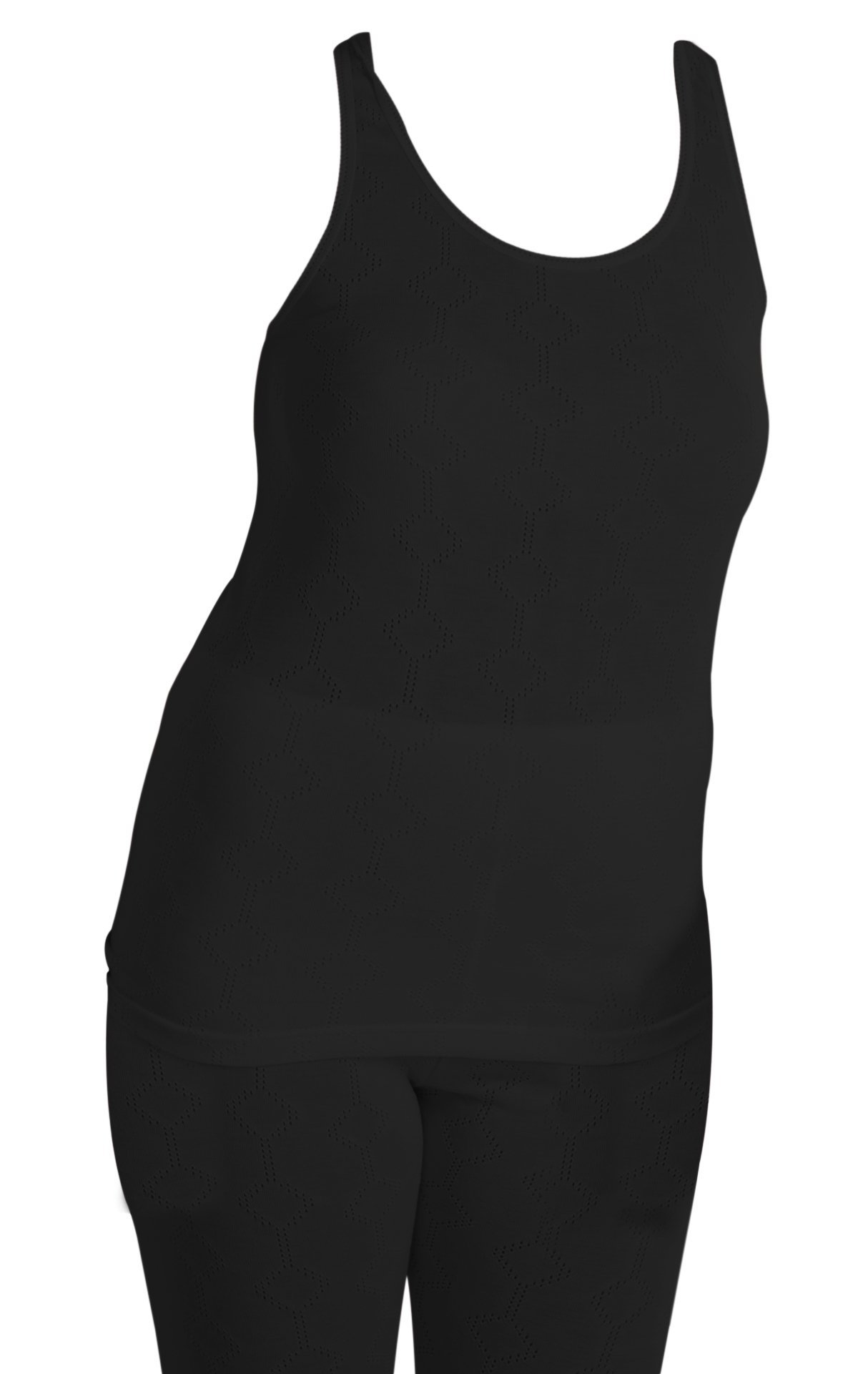 Octave British Made Womens Thermal Sleeveless Vest Extra Warm, Size WMS, Black