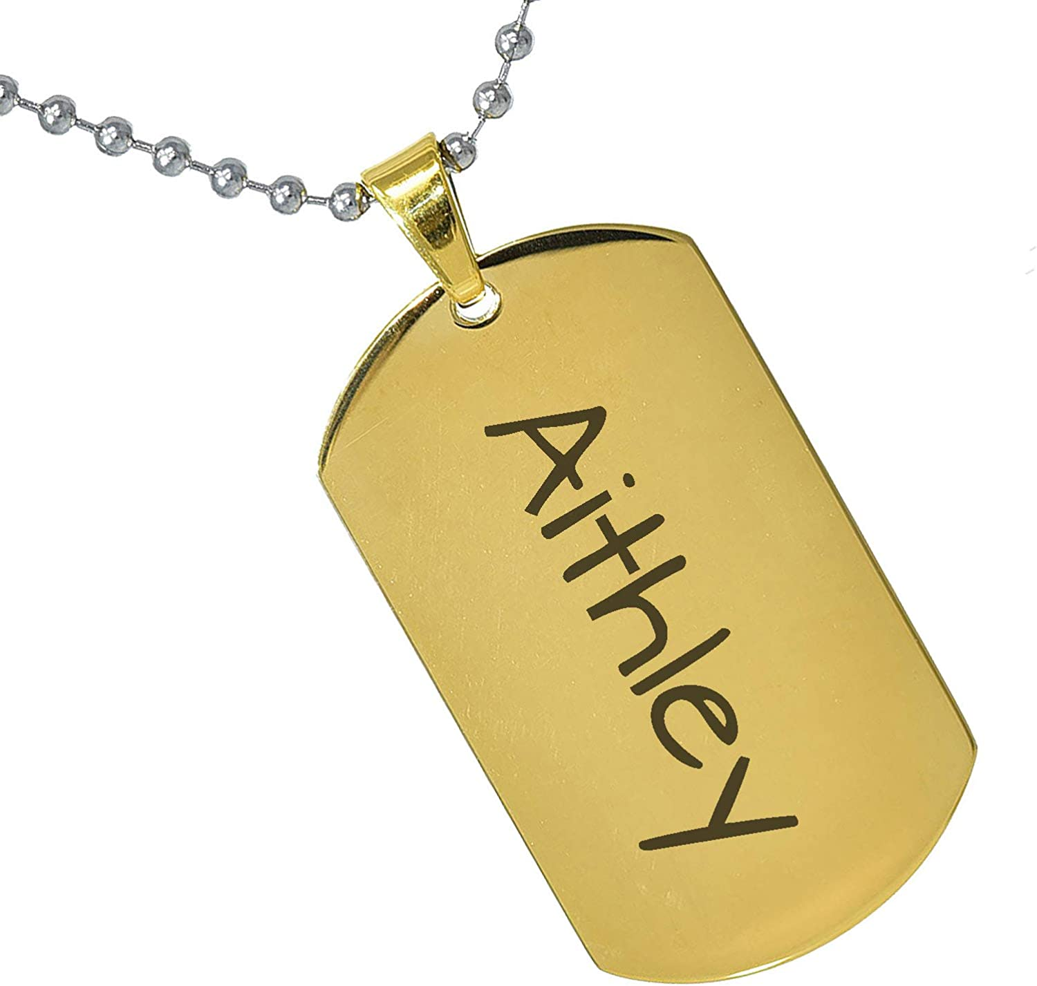 Stainless Steel Silver Gold Black Rose Gold Color Baby Name Aithley Engraved Personalized Gifts For Son Daughter Boyfriend Girlfriend Initial Customizable Pendant Necklace Dog Tags 24 Ball Chains