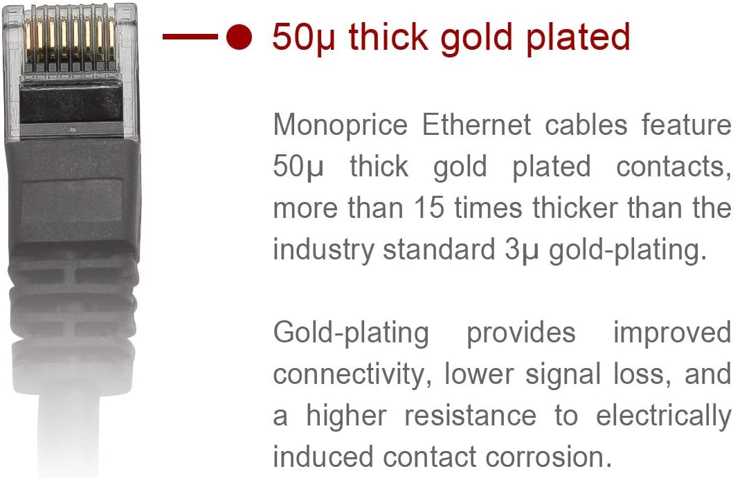 UTP 0.5ft RJ45 24AWG Pure Bare Copper Wire Black Stranded 350Mhz Monoprice Flexboot Cat5e Ethernet Patch Cable Network Internet Cord