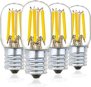 Bonlux 2W Dimmable T7/T22 LED Appliance Bulb E17 Intermediate Base Microwave Oven Light Bulb (25W Incandescent Equivalent) 120V E17 LED Refrigerator Range Hood Light (Warm White 2700K, 4-Pack)