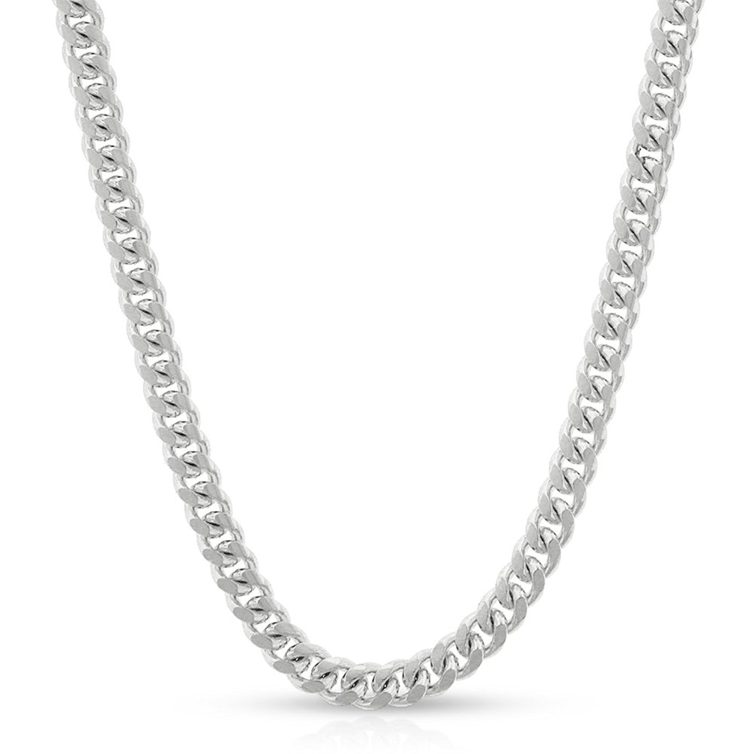 14k White Gold 3.5mm Solid Miami Cuban Curb Link Necklace Chain 16'' - 30'' (24)