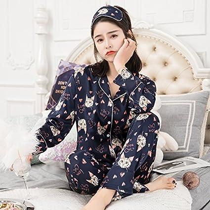 WXIN /Pijama De Manga Larga Primavera/Mujer Chaqueta De Seda De Hielo Home Servicio