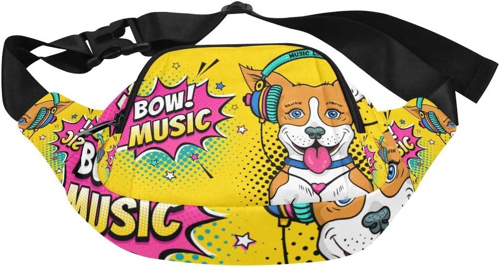 Happy Animal Dog Enjoy Music Carton Fenny Packs Waist Bags Adjustable Belt Waterproof Nylon Travel Running Sport Vacation Party For Men Women Boys Girls Kids