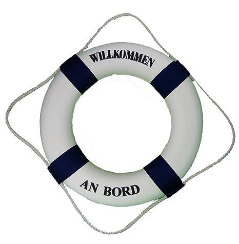 Decodificar Para Aro Salvavidas 50cm blanco azul Bienvenido a bordo