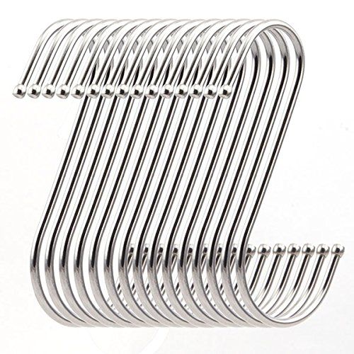 ruiling 15-pack premium 4.5 inch heavy duty stainless steel s hooks - s shaped hook - hanger hooks - ideal for hanging pots and pans, plants, utensils, towels etc.