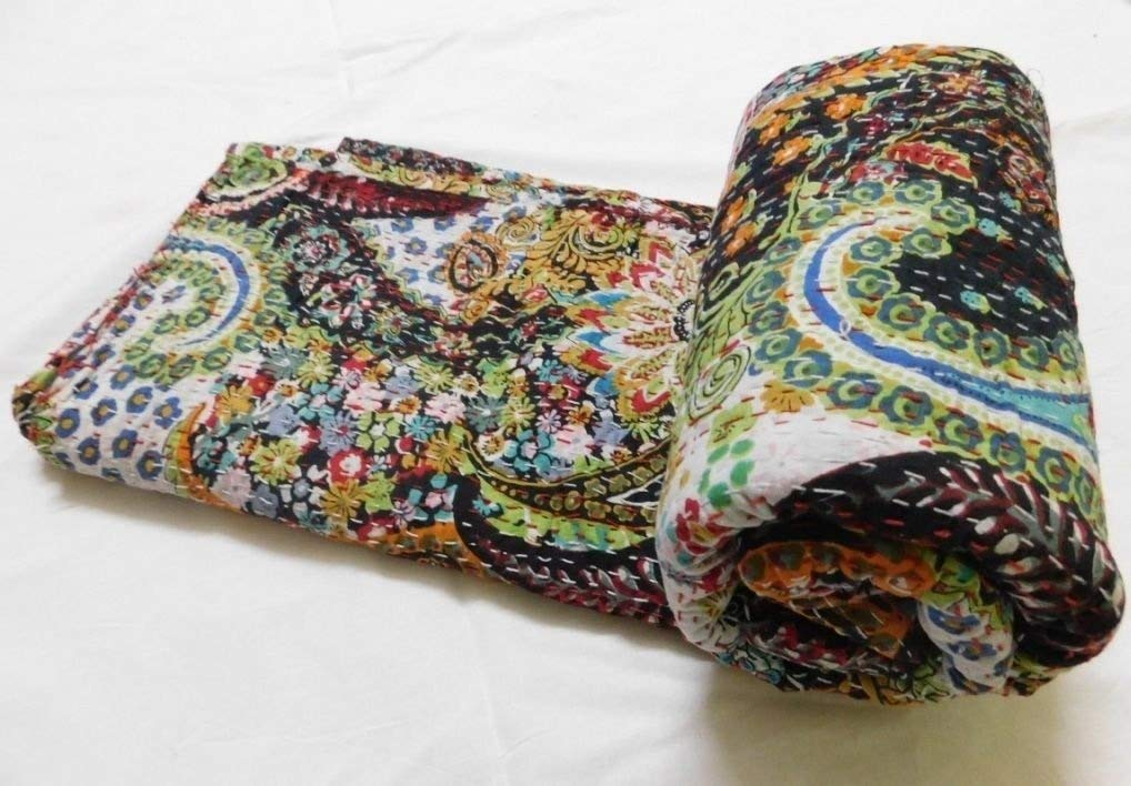 NANDNANDINI- Beautiful Purple King Size Kantha Throw, Kantha Quilts, Kantha Quilt, Vintage Kantha Quilt SUPERIOR QUALITY, Kantha Bedspread, Decorative Bedspread,