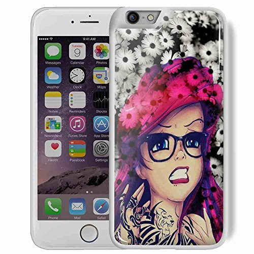 punk ariel little mermaid daisy hipster tattoo for iPhone 6 Plus/6s Plus White Case