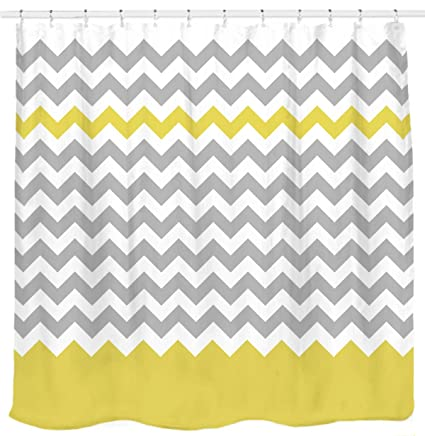 86c351a7cb5 Sunlit Zigzag Yellow and Gray White Chevron Shower Curtain. Geometric Print  Pattern Lines and Contemporary