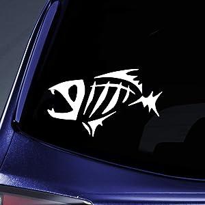 "Bargain Max Decals - Fish Bones Fear No - Sticker Decal Notebook Car Laptop 6"" (White)"