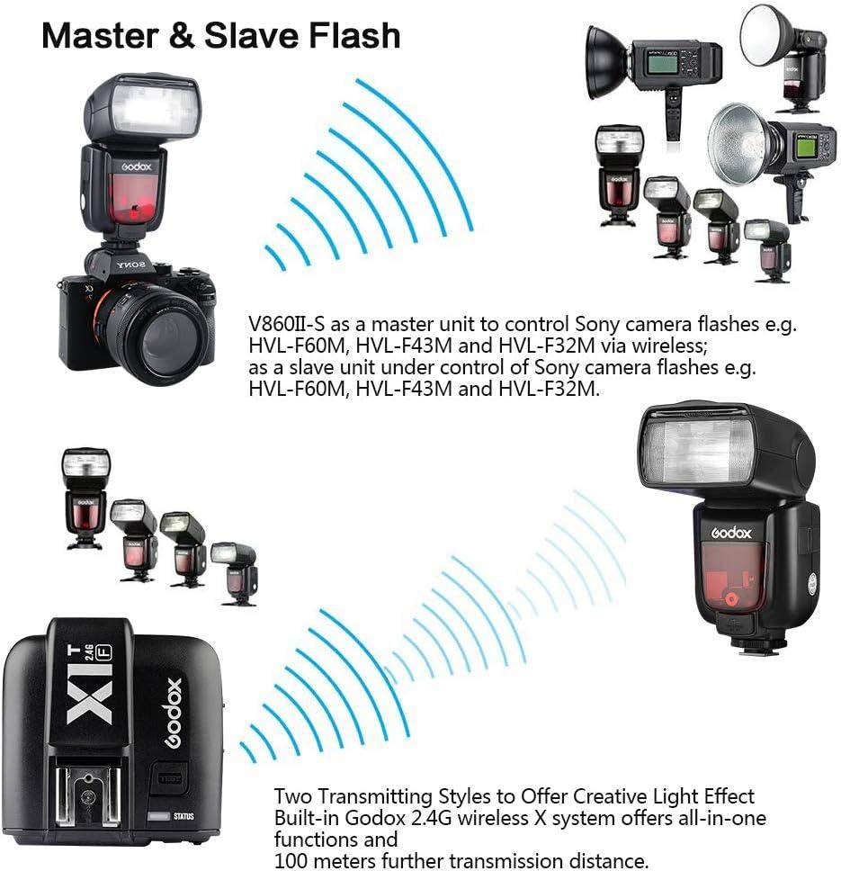 GODOX V860II-S TTL Camera Flash 2.4G 1//8000s HSS GN60 with Lithium Battery External Flash Speedlight for Sony Cameras V860II-S