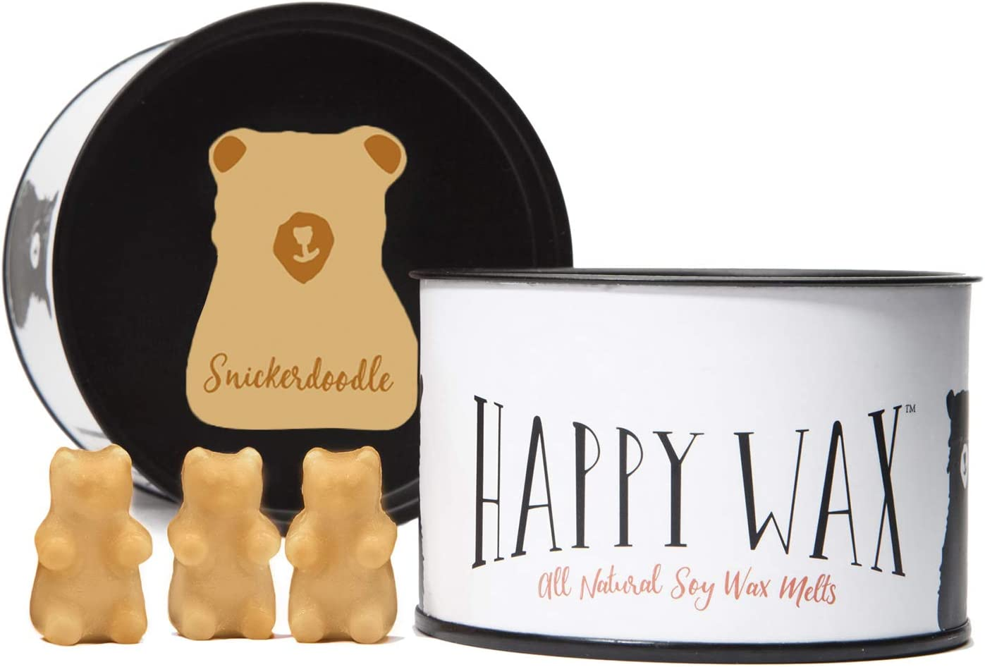 Happy Wax Snickerdoodle Soy Wax Melts - Scented Wax Melts Infused with Essential Oils - Cute Bear Shapes Perfect for Melting in Your Wax Melt, Cube, or Tart Warmer (3.6-Oz. Classic Tin)