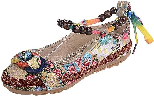 Zapatos de mujer Étnico Cuentas Punta redonda Vistoso Casual Bordado Algodón Bohemia Cómodo Flor Zapatos ...