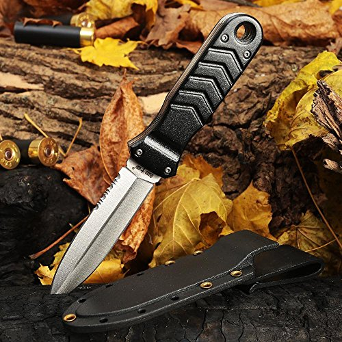 Tactical Knife - Survival Fixed Blade Knife - Best Outdoor Military Knives for Camping Bushcraft Fighting or Self Defense - Stainless Steel Serrated Blade Full Tang Plastic Handle - Grand FBGX-2 AL by Grand Way (Image #1)
