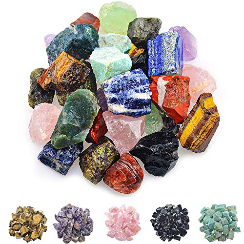 FORBY 1 lb Bulk Assorted Stones Rough Stones – Large 1″ Natural Raw Stones Crystal for Tumbling, Cabbing, Fountain Rocks, Decoration,Polishing, Wire Wrapping, Wicca & Reiki Crystal Healing