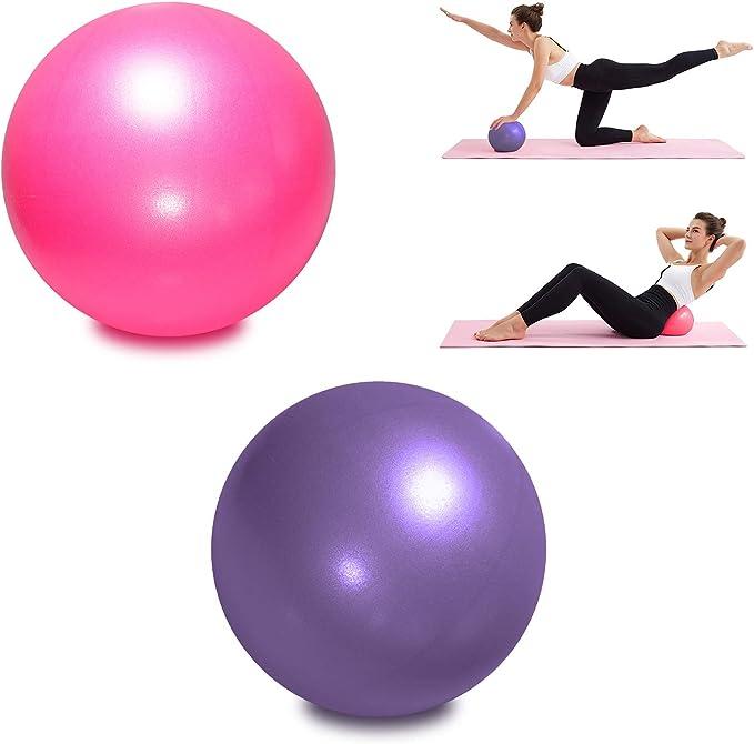 TopBine 2 Piezas Pelota de Pilates para Yoga, Barra, Entrenamiento y Terapia Física, Mejora el Equilibrio, Fuerza de Núcleo, Dolor de Espalda y Postura, Viene con Paja Inflable
