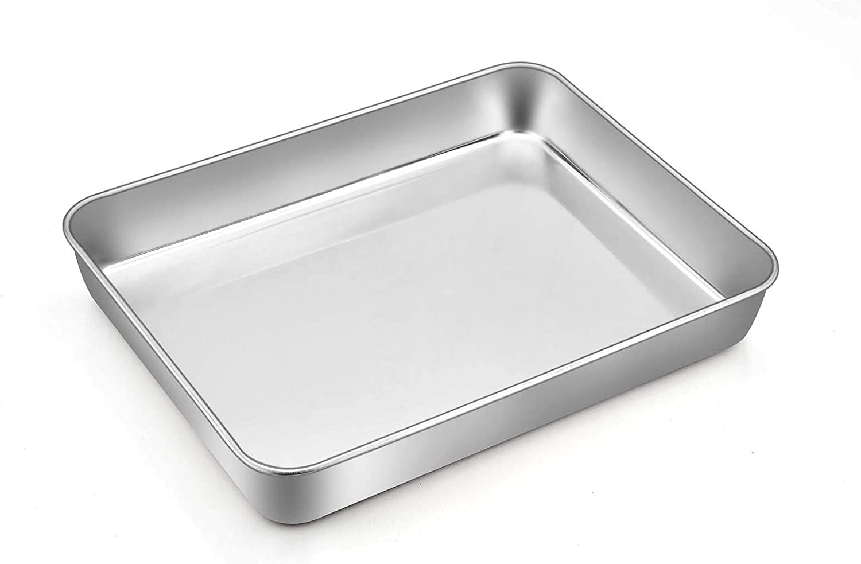 TeamFar Rectangular Cake Pan, 9.3'' x 7'' x 2'', Mini Stainless Steel Lasagna Cake Casserole Pan for Roasting Baking, Non-toxic & Sturdy, Deep Wall & Brushed Surface, Easy Clean & Dishwasher Safe