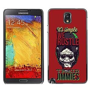 ZAAAZ PC Polycarbonate Aluminium Back Case Cover Samsung Galaxy Note 3 III / Funny - We hustle Gorilla Monkey Ape Apes Planet /
