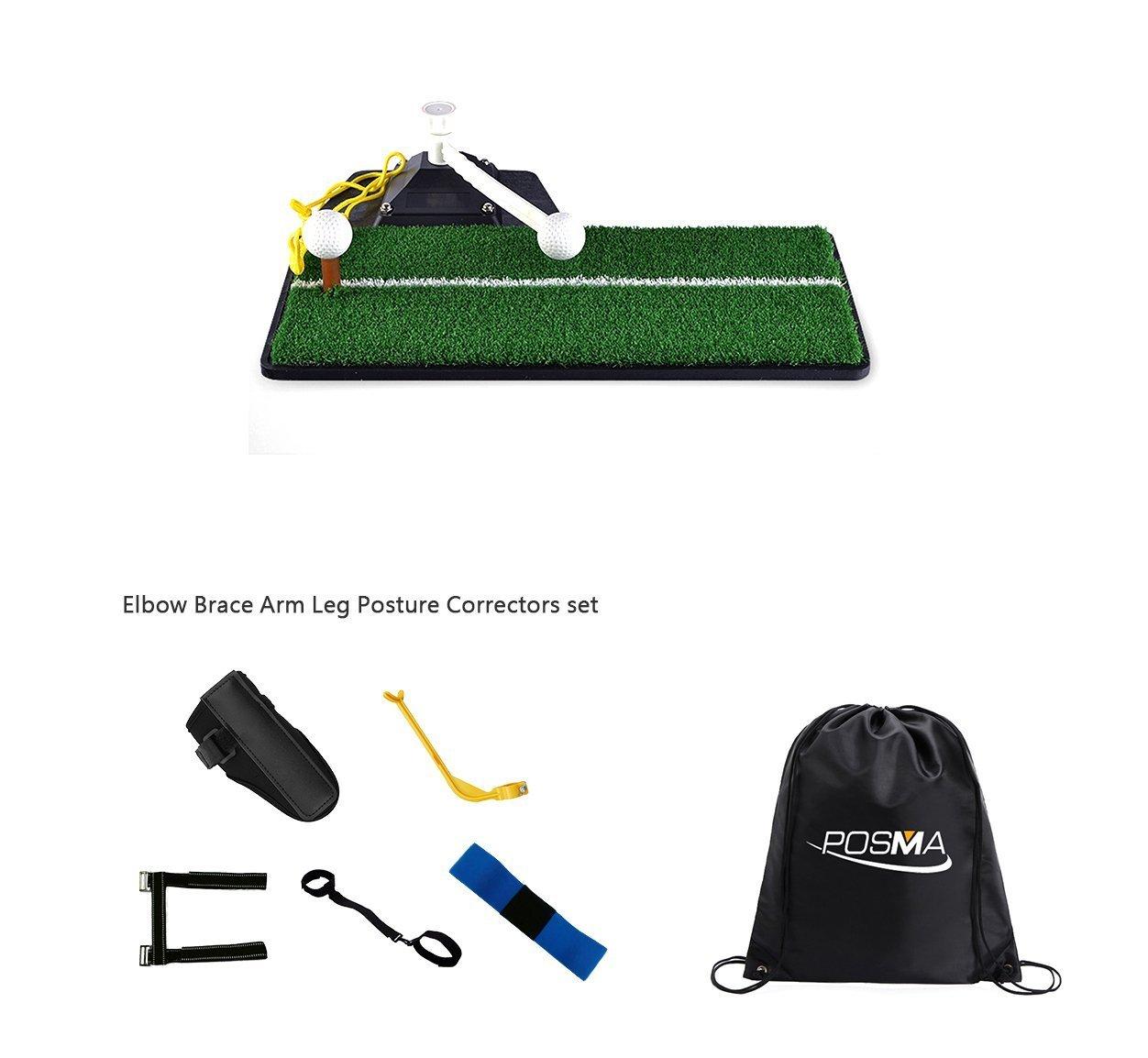 Posma ST070Aゴルフ練習スイングマットバンドルギフトセットで5ピース肘ブレースアーム脚姿勢コレクターセット用屋内   B07D58H41R