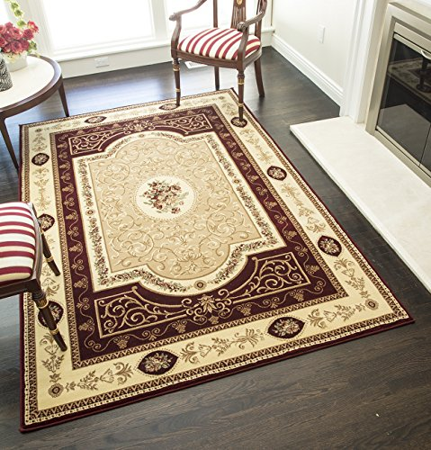 Rugs America New Vision Area Rug, 5-Feet 3-Inch by 7-Feet 10-Inch, French Aubusson Cherry