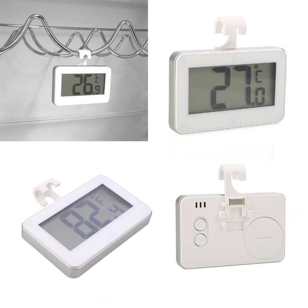 Beautyrain White Digital Refrigerator Freezer Room Thermometer, No Frills Simple Operation