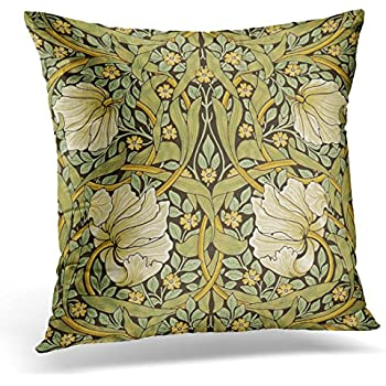 TORASS Throw Pillow Cover White Floral William Morris Pimpernel Vintage Pre Yellow Artistic Decorative Pillow Case Home Decor Square 18x18 Inches Pillowcase