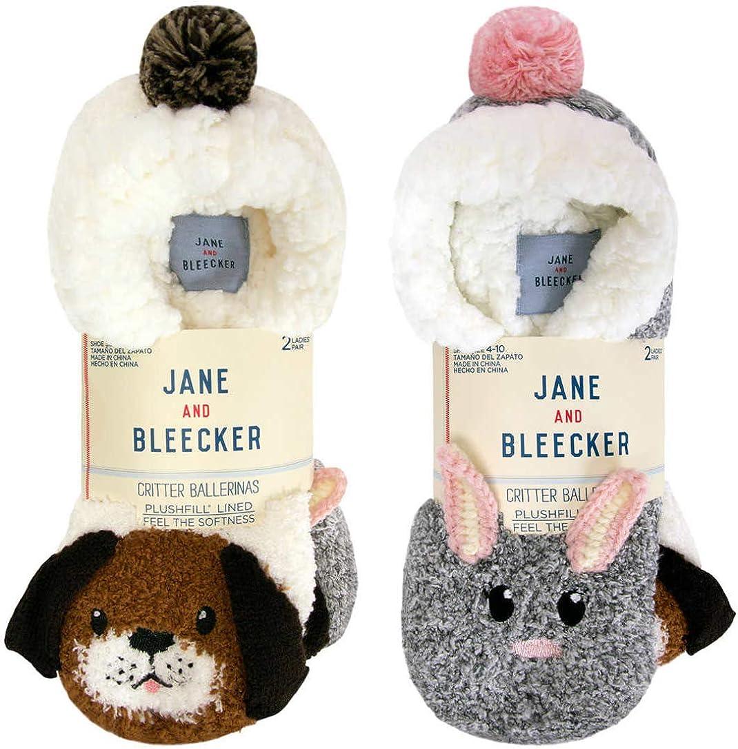 2 paires Jane et Bleecker Chaussons Chaussettes plushfill doublé doux femme