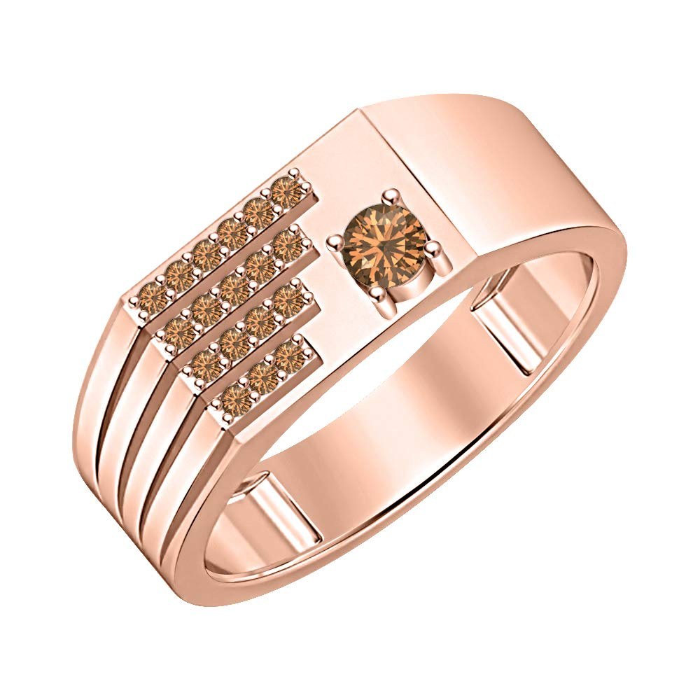 SVC-JEWELS 0.90 Ctw Round Cut Gemstone 18K Rose Gold Over .925 Sterling Silver Club Mens Ring