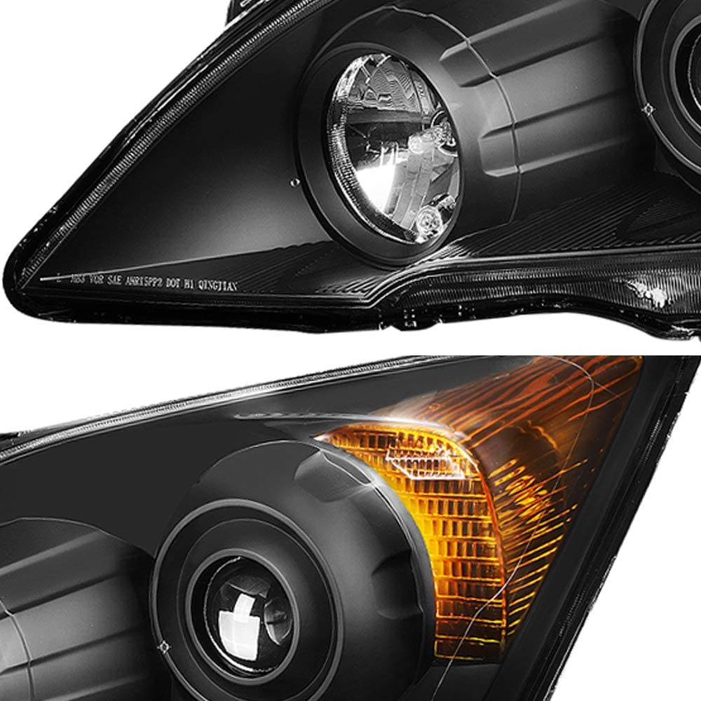 black JSBOYAT/Headlight Assembly Replacement for 2007-2011 Honda CR-V Projector Headlamp Black Housing with Amber Reflector Driver and Passenger Side OE Style