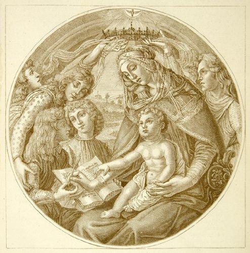 1877 Print Coronation Virgin Mary Madonna Baby Jesus Crown Writing Renaissance - Relief Line-block Print (Renaissance Writing)