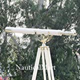 Single Barrel Floor Standing Chrome With White Leather Anchormaster Telescope 65''