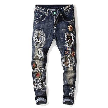 Chlyuan Jeans de Hombre Pantalones Vaqueros Desgastados ...