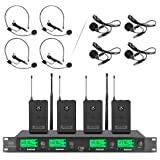 Wireless Microphone System Pro UHF 4 Channel 4 Lavalier Bodypacks 4 Lapel Mic 4 Headsets for Karaoke System Church Speaking C